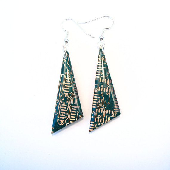 Recycled Copper & Green Circuit Board Earrings - Geek Earrings - Computer…