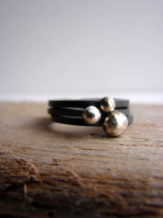 Pebble Ring Oxidized Silver Contemporary Stacking Rings by Nafsika, $60.50