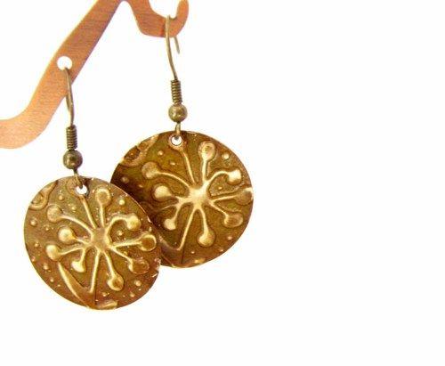 Embossed Metal Earrings Flower Brown brass Earrings | Readesigns - Jewelry on ArtFire