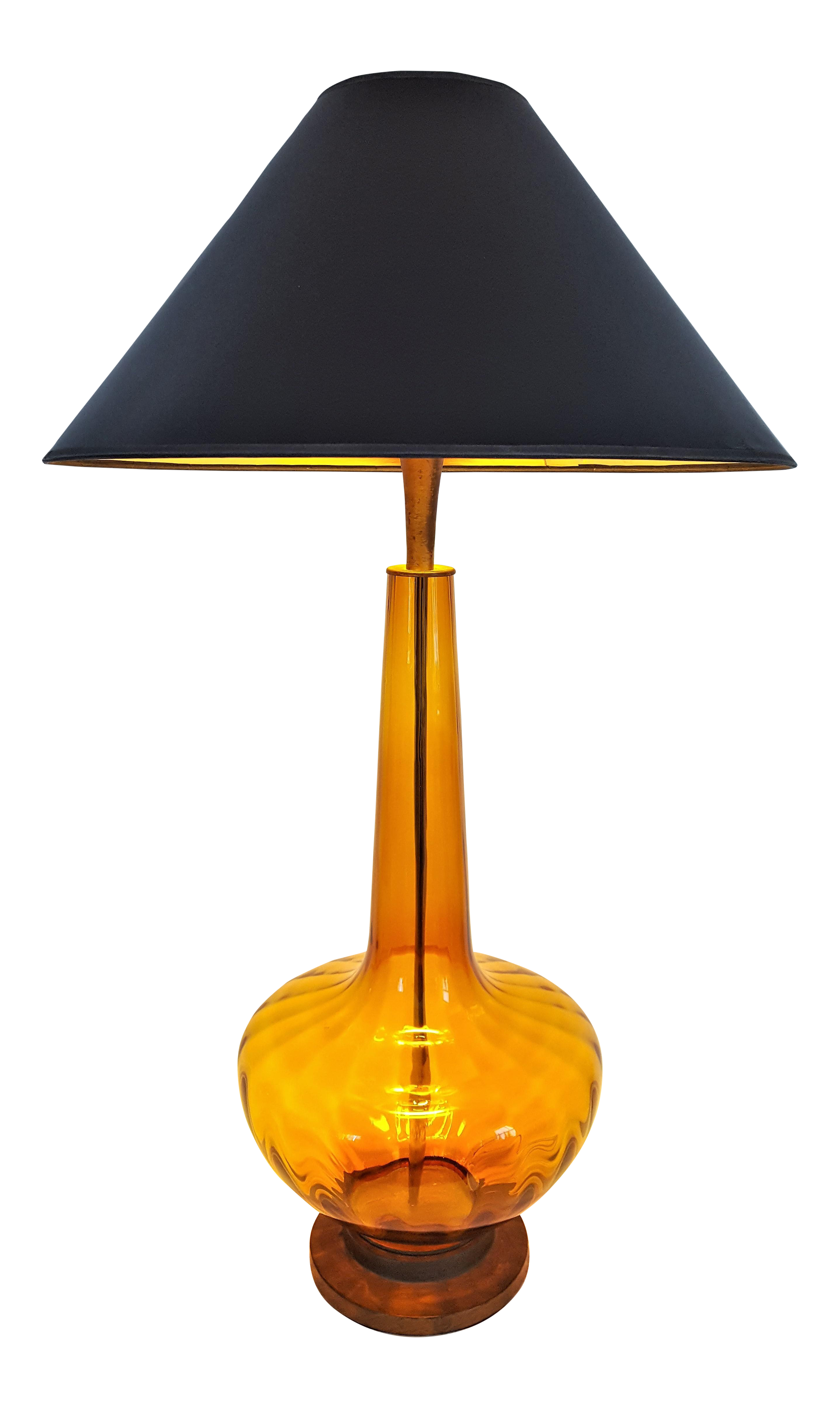 Large 1950 S Vintage Murano Amber Glass Table Lamp Italy Italian Mid Century Modern Mcm Palm Beach Boho Chic Tropical Amber On Lamp Table Lamp Glass Table Lamp