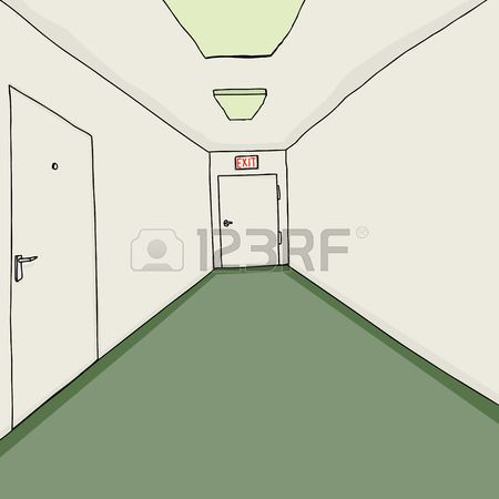 Dibujado A Mano Pasillo Con Moqueta Verde Arquitectura