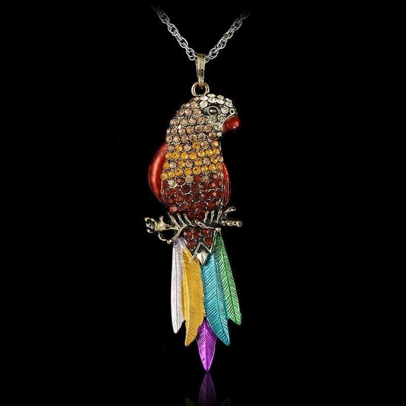 Enamel Bird Pendant Necklace Multicoloured Metallic Effect