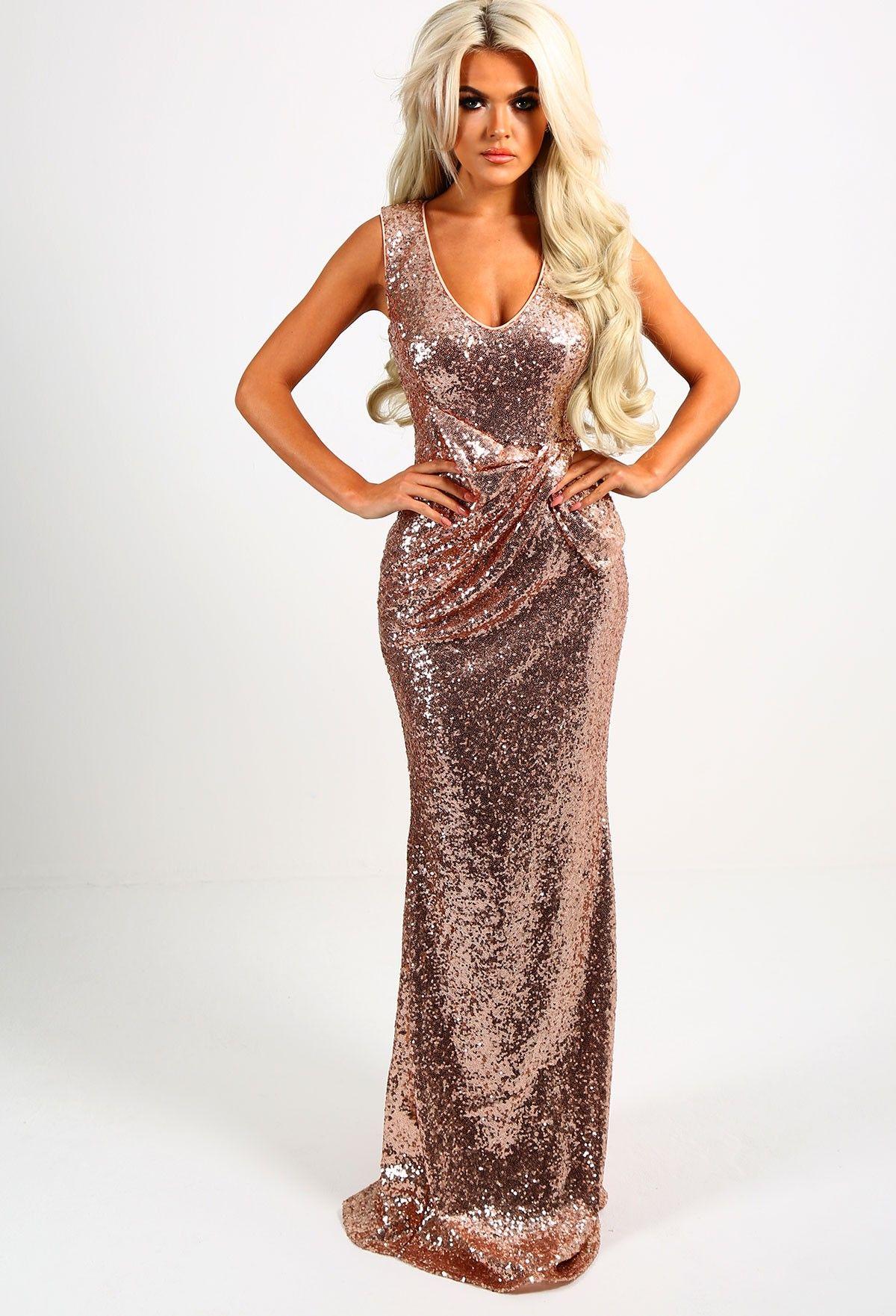 4ddb87c8489a Juliet Rose Gold Sequin Ruched Maxi Dress - 8 | Bridesmaid | Dresses ...