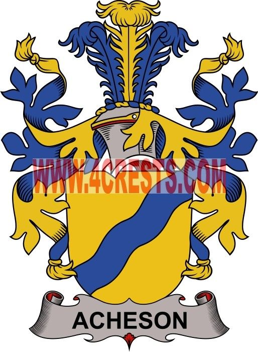 Acheson Coat Of Arms Family Crest Denmark By Name Symbol