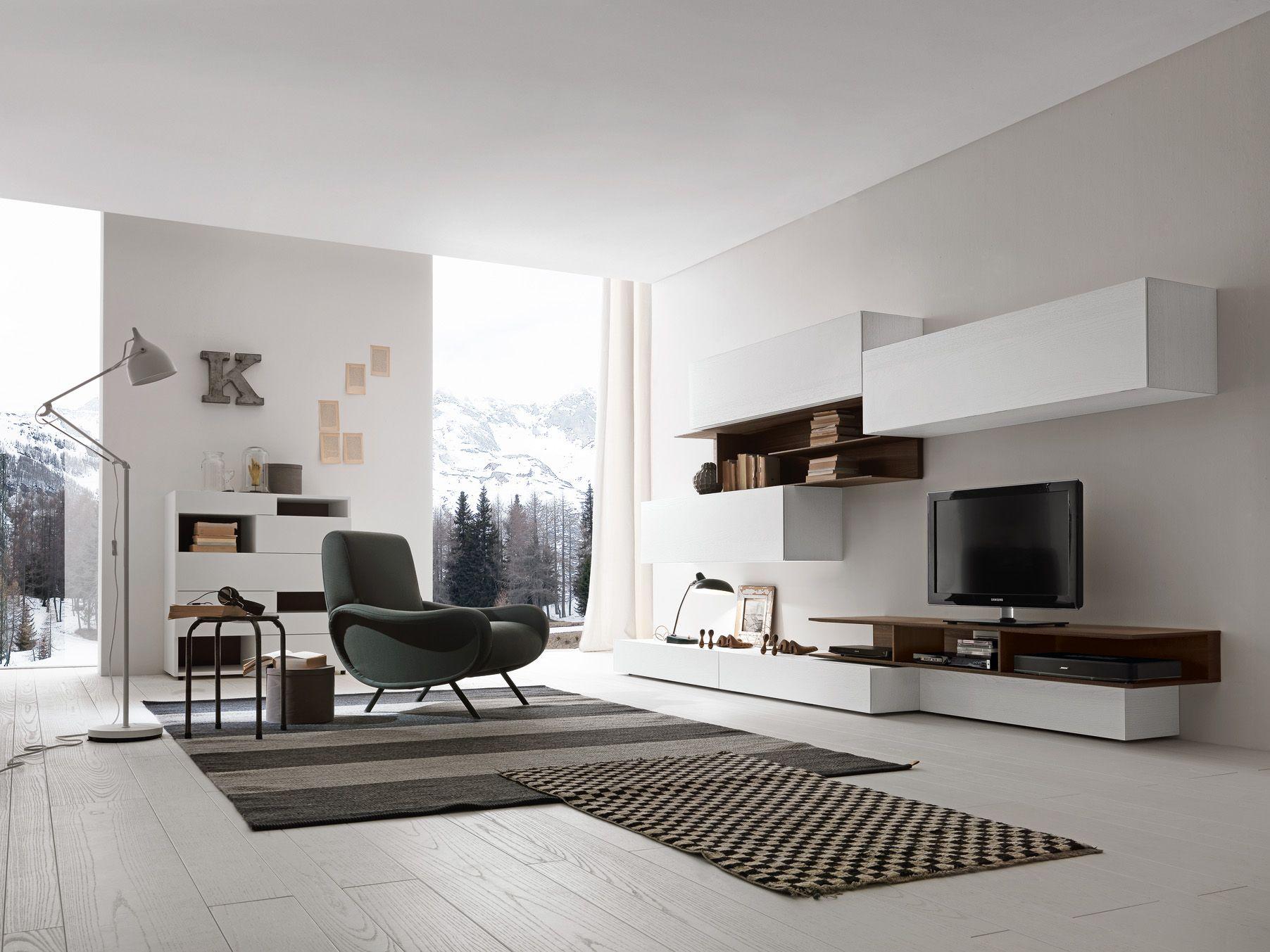 Presotto base and wall units in bianco candido color for Presotto mobili