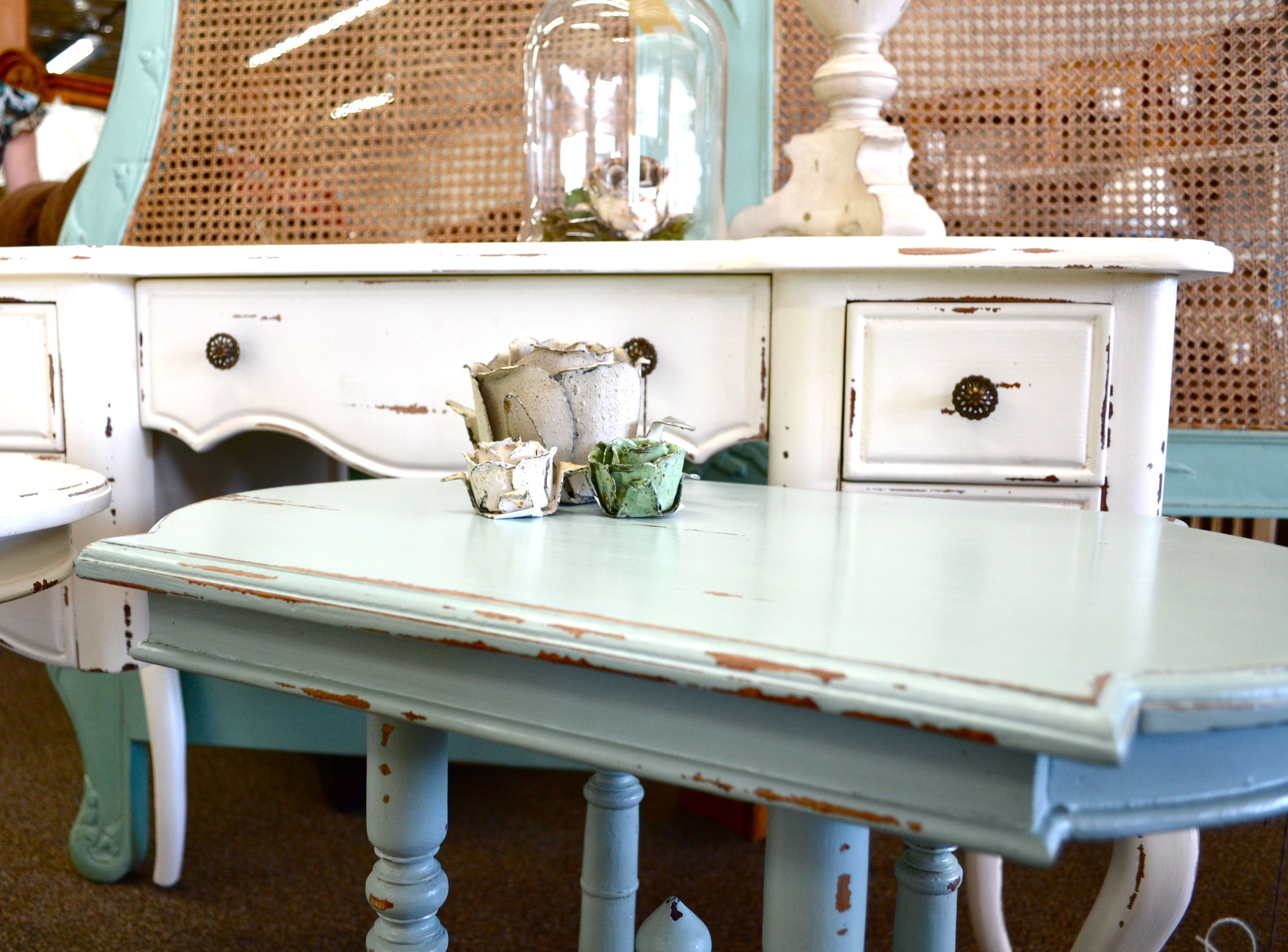Distressed Teal And White Bramble Furniture At Tuckers Valley Near San Diego