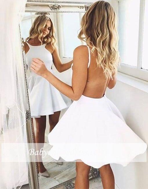White Cocktail Halter Satin Mini Dress PU27 #backlesscocktaildress