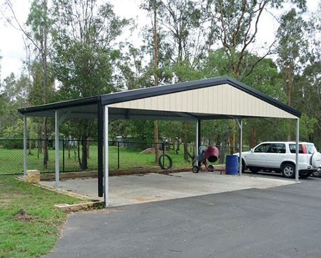 Triple Gable Roof Carport With Gable Infill 9m X 5 5m X 2 7m