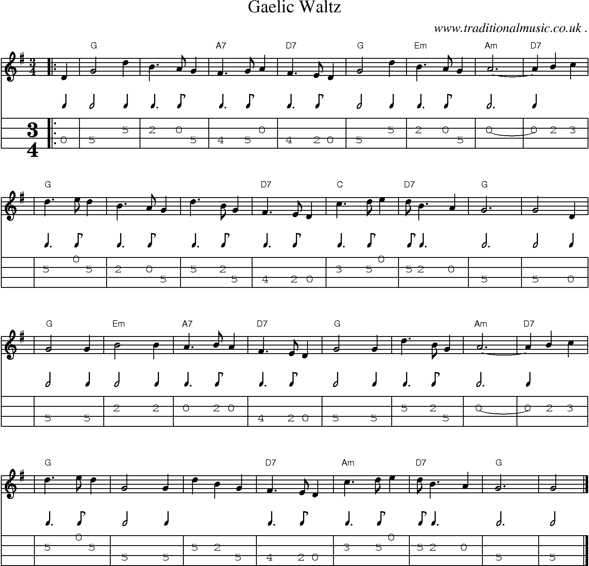 Sheet-music score, Chords and Mandolin Tabs for Gaelic Waltz
