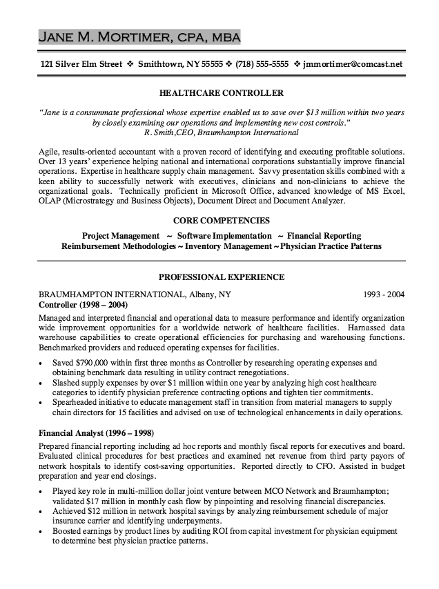 Healthcare Controller Resume Sample  HttpResumesdesignCom