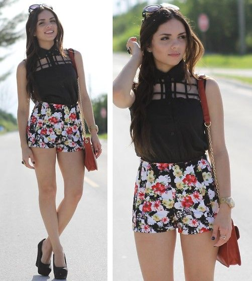 Romwe Floral Shorts, Causeway Mall Cut Out Top, Payless Black Wedges, Baghaus Bag