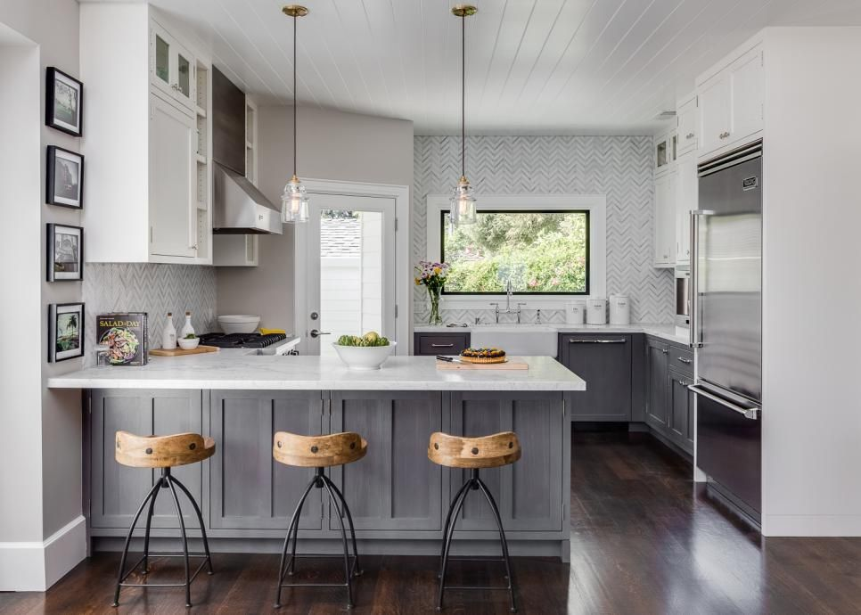 Small home with big style warm grey walls base cabinets White cabinets grey walls