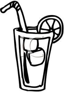 clip art black and white | Black and White Cup of Lemonade