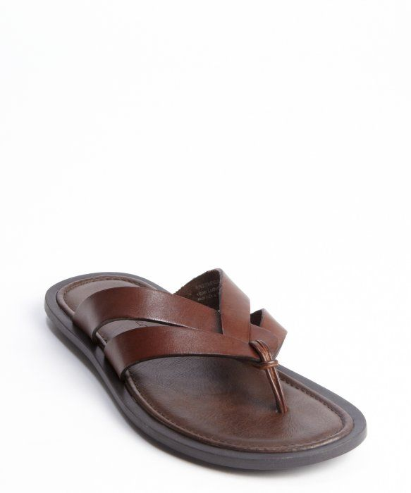 Kenneth Cole New York Men/'s Leather Flip Flop Sandals Brown Pick Size NEW