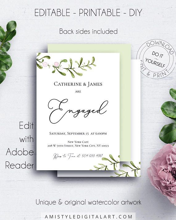 Greenery Engagement Invitation, with unique and nice watercolor - engagement invitation cards templates