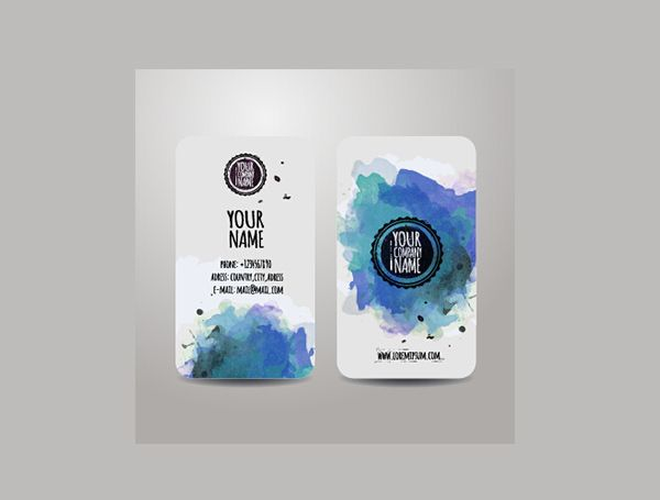 2 Rounded Watercolor Business Cards Set - https://gooloc.com/2-rounded-watercolor-business-cards-set/