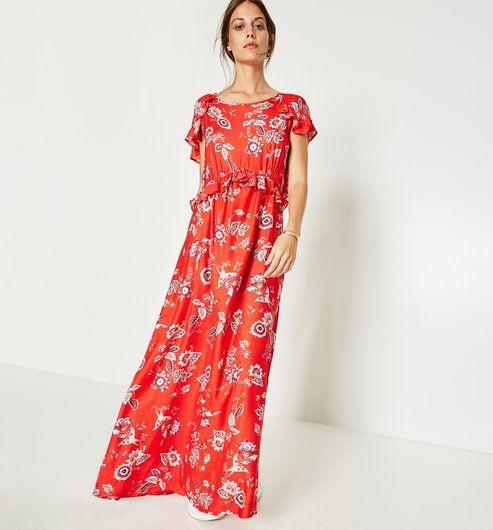 06820568d98 Robe longue imprimée Femme imprimé rouge - Promod