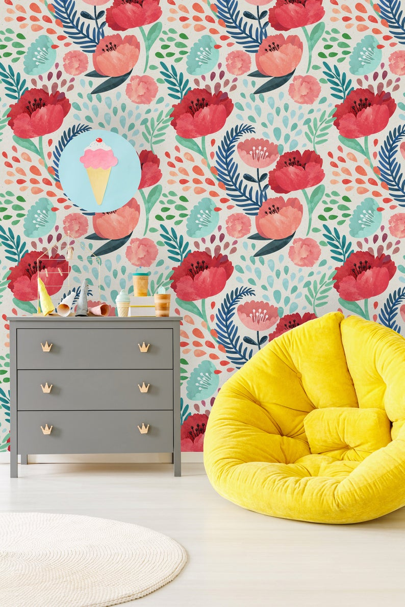 Removable Wallpaper Peel And Stick Wallpaper Self Adhesive Etsy In 2020 Removable Wallpaper Patterned Wallpaper Bedroom Peel And Stick Wallpaper