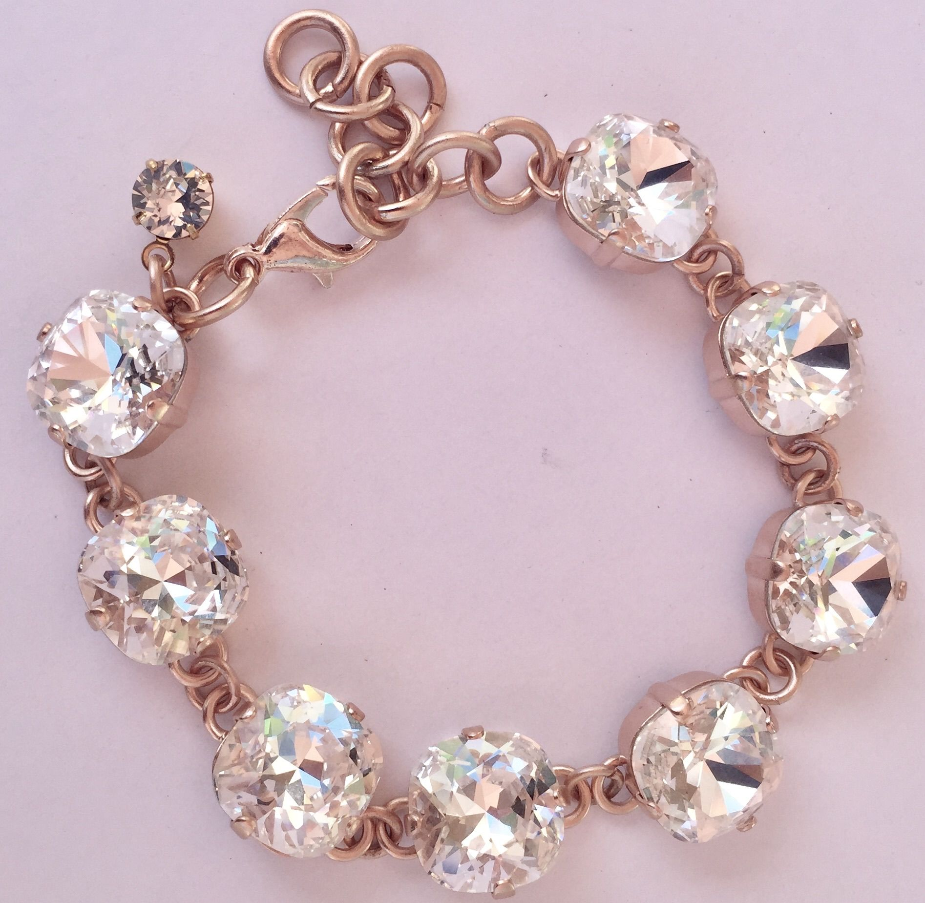 Swarovski clear white mm crystal rose gold bracelet donna