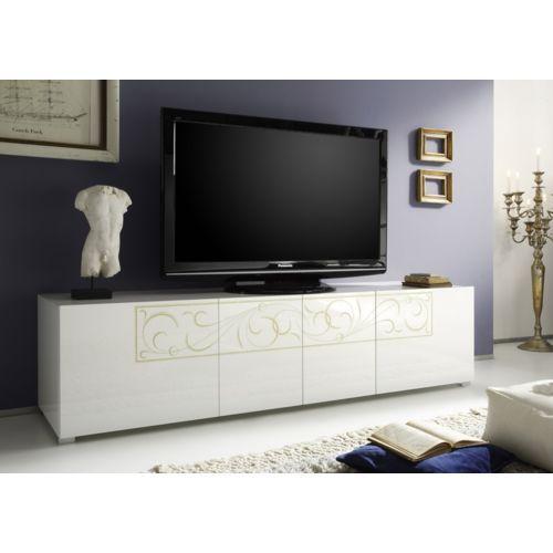 279 Envie De Meubles Meuble Tv Blanc Laque Paloma Pas Cher Achat
