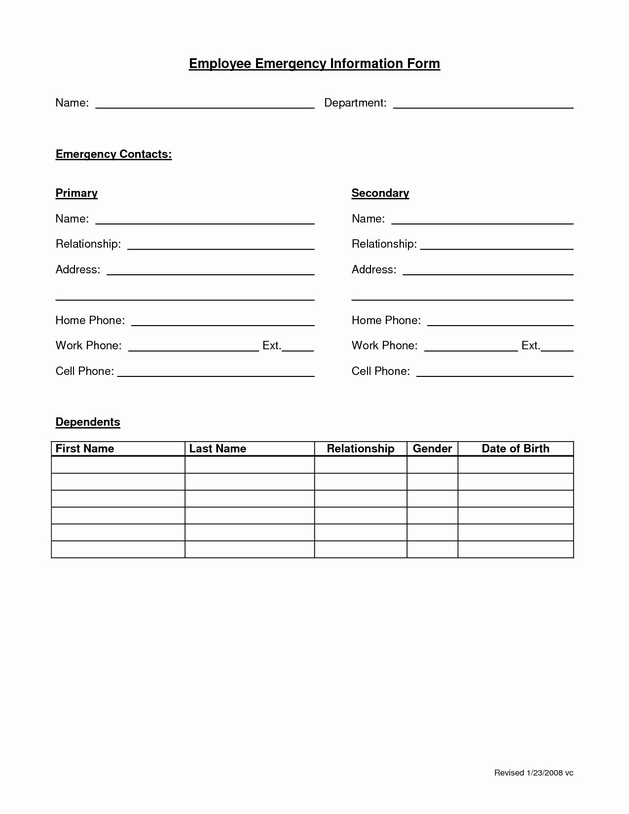 Employee Information Form Template In