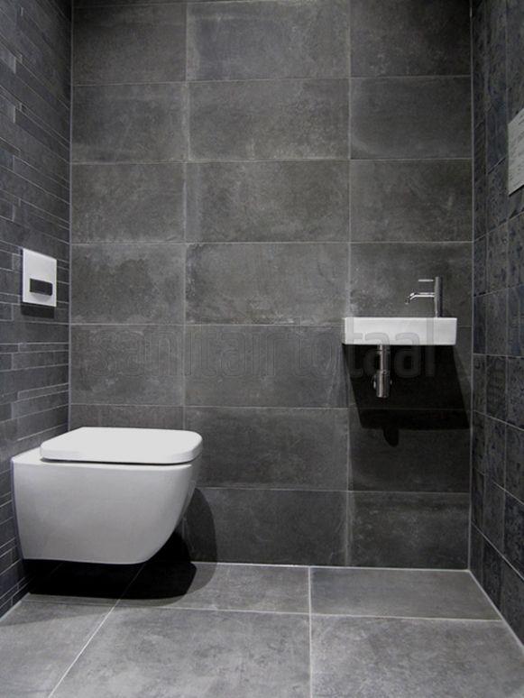 Tegels badkamer grijs tegelstroken toilet muurstrips toilet badkamer ideeen natuursteen - Deco toilet grijs en wit ...