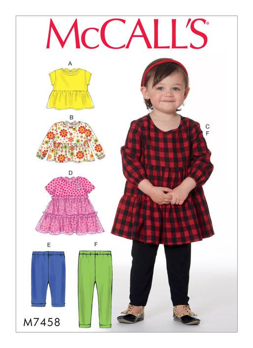 M7458 | McCall's Patterns. Toddlers' Gathered Tops, Dresses and Leggings