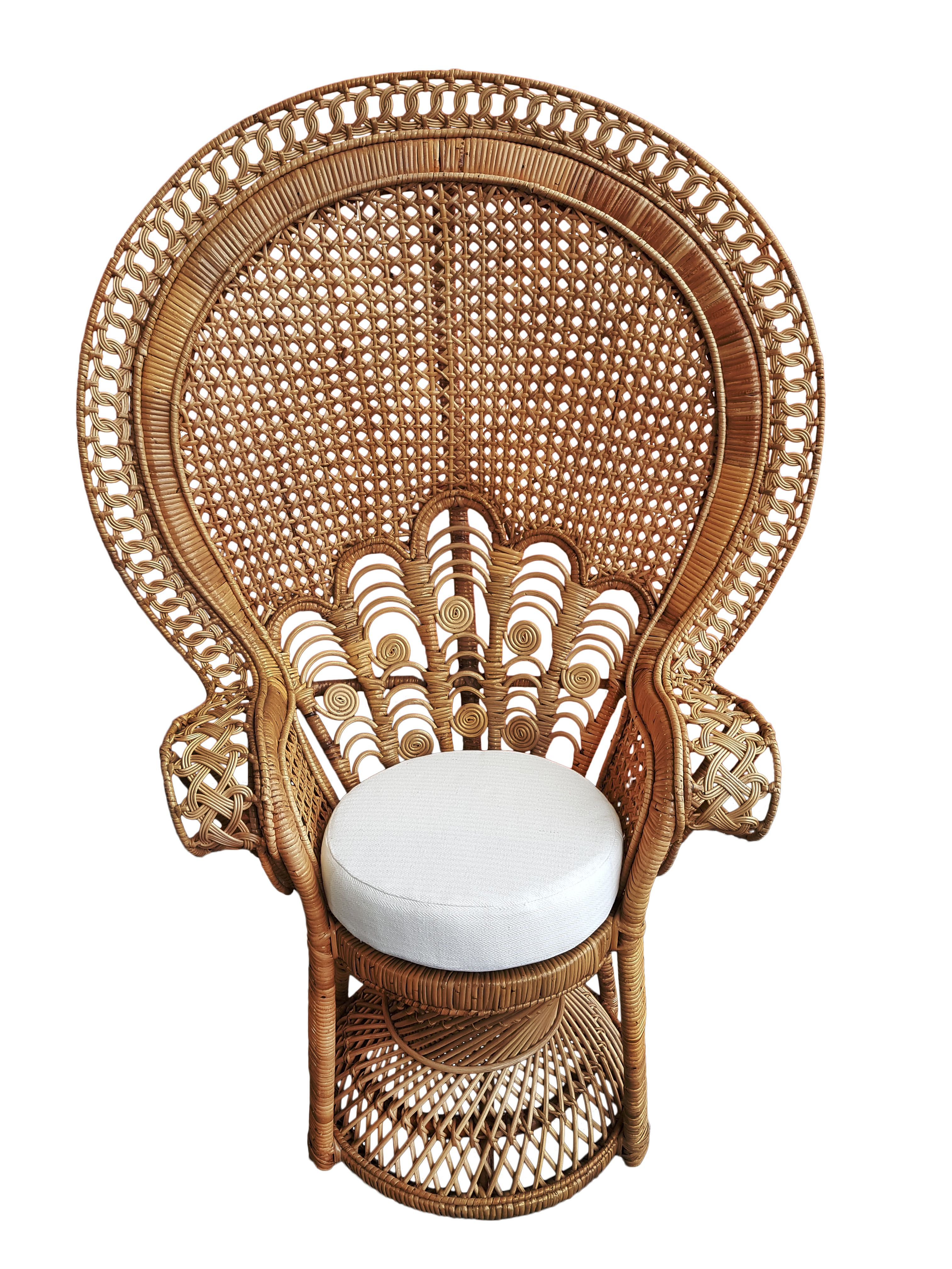 A beautiful peacock chair from canejava rattan and wooden