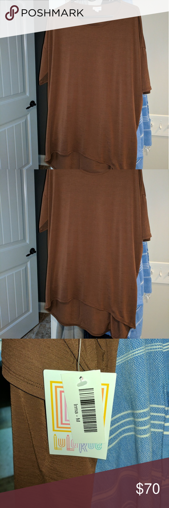 NWT Lularoe Irma Chocolate Brown Medium I have a very hard to find chocolate brown Irma. Turns out I have two of the same shirt. Crazy right? Well, it happens when you buy a lot quickly and forget. Both were bought second hand, not from a consultant. I just want to make my money back. Brand new. Never worn. Tags attached. This Irma is the more cool dressy fabric as opposed to the thicker cotton. It is very nice. I just don't need a duplicate. Make me an offer. LuLaRoe Tops Tunics