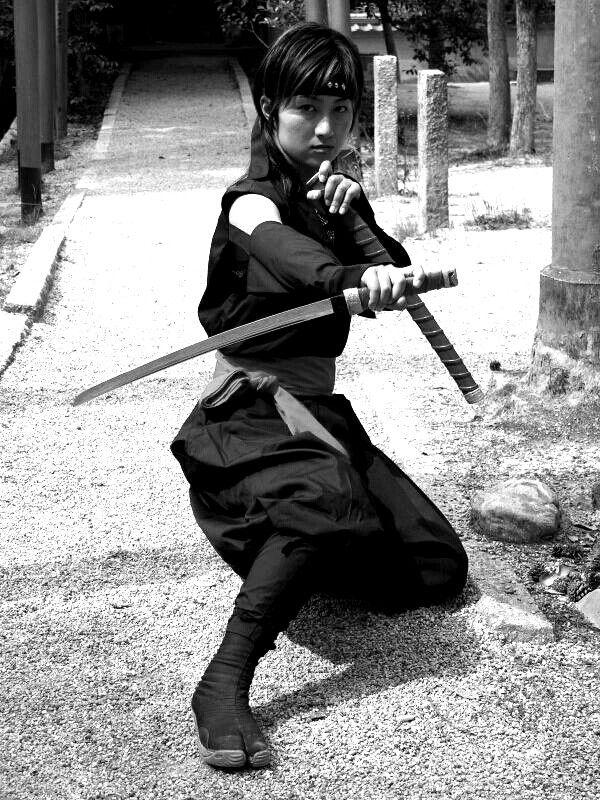 Kunoichi(Woman ninja) hakama costume(black-red) - from iga,japan