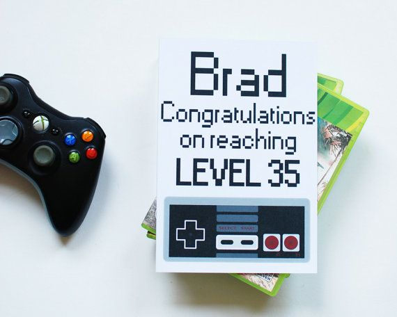 Personalised Birthday Card For Gamer Congratulations On Reaching Level Funny