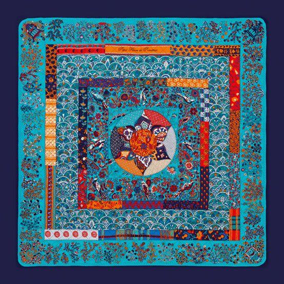 Châle en cachemire et soie PIQUÉ FLEURI DE PROVENCE.  Hermes  Silk  Blue.  Lenços De SedaCachecóis ... 2a39b230f95
