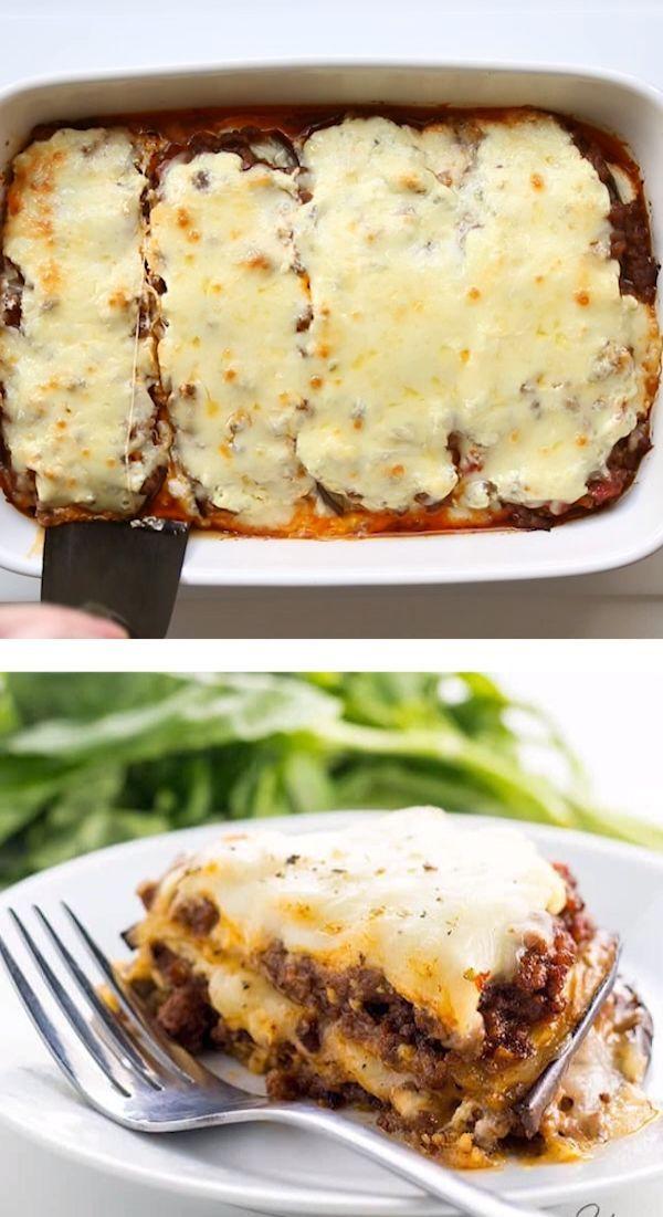 Low Carb Eggplant Lasagna Recipe Without Noodles - Gluten-Free - KETO -