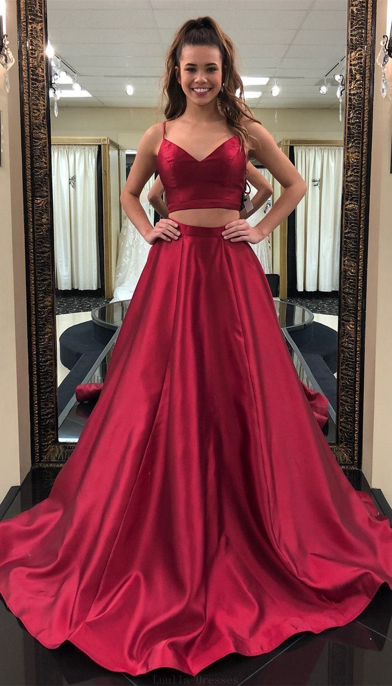Custom made trendy prom dresses straps two piece red long prom