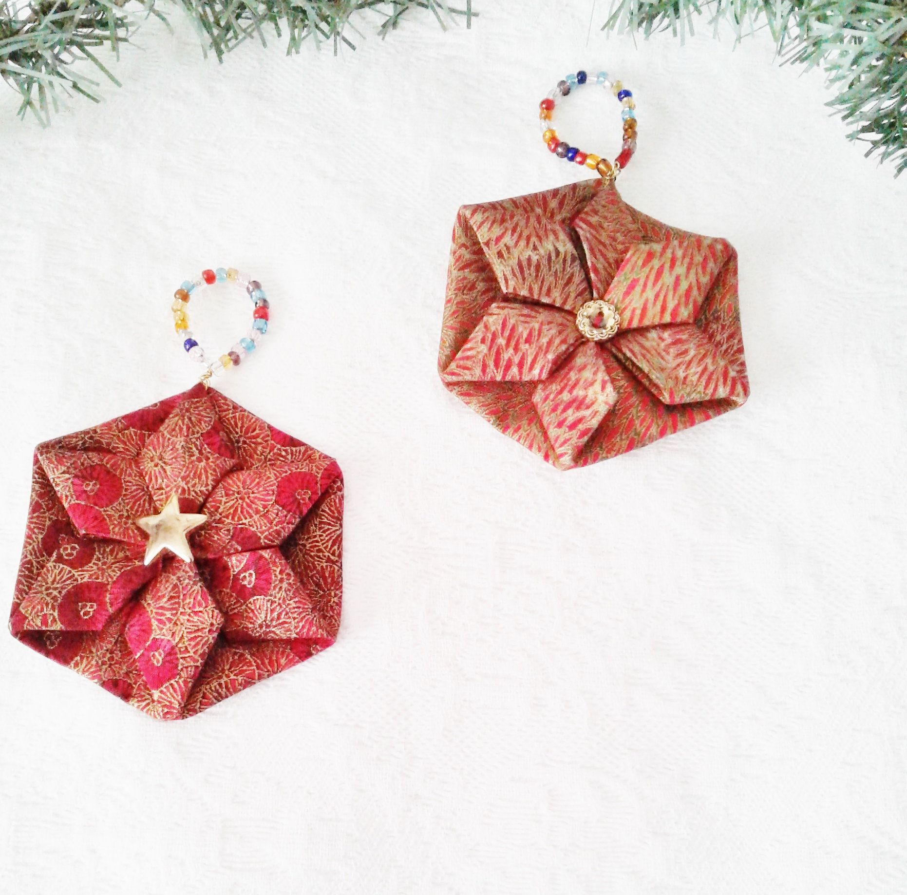 Holiday Ornaments Christmas Home Decor Tree Ornaments Set Of Etsy Folded Fabric Ornaments Handmade Tree Ornaments Fabric Ornaments