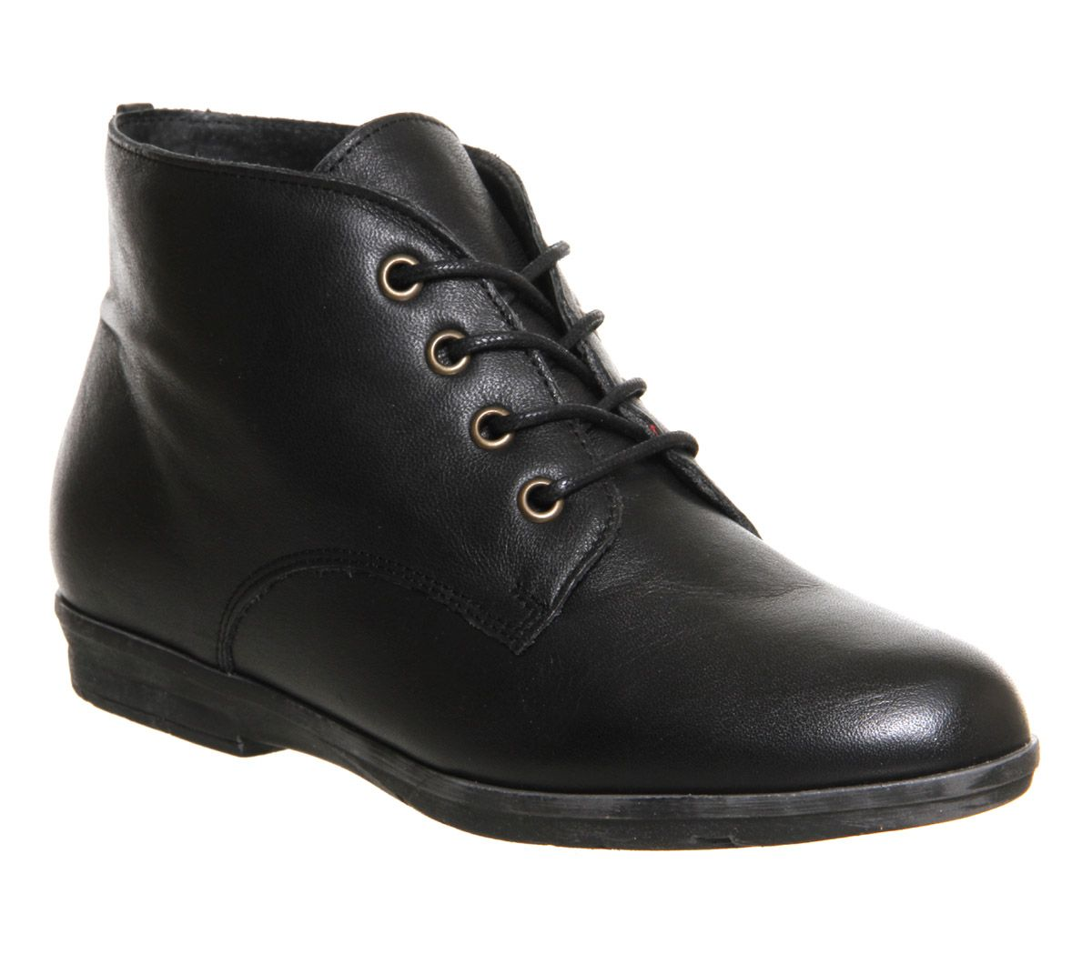 Office Fable Lace Up Black Leather Ankle Boots