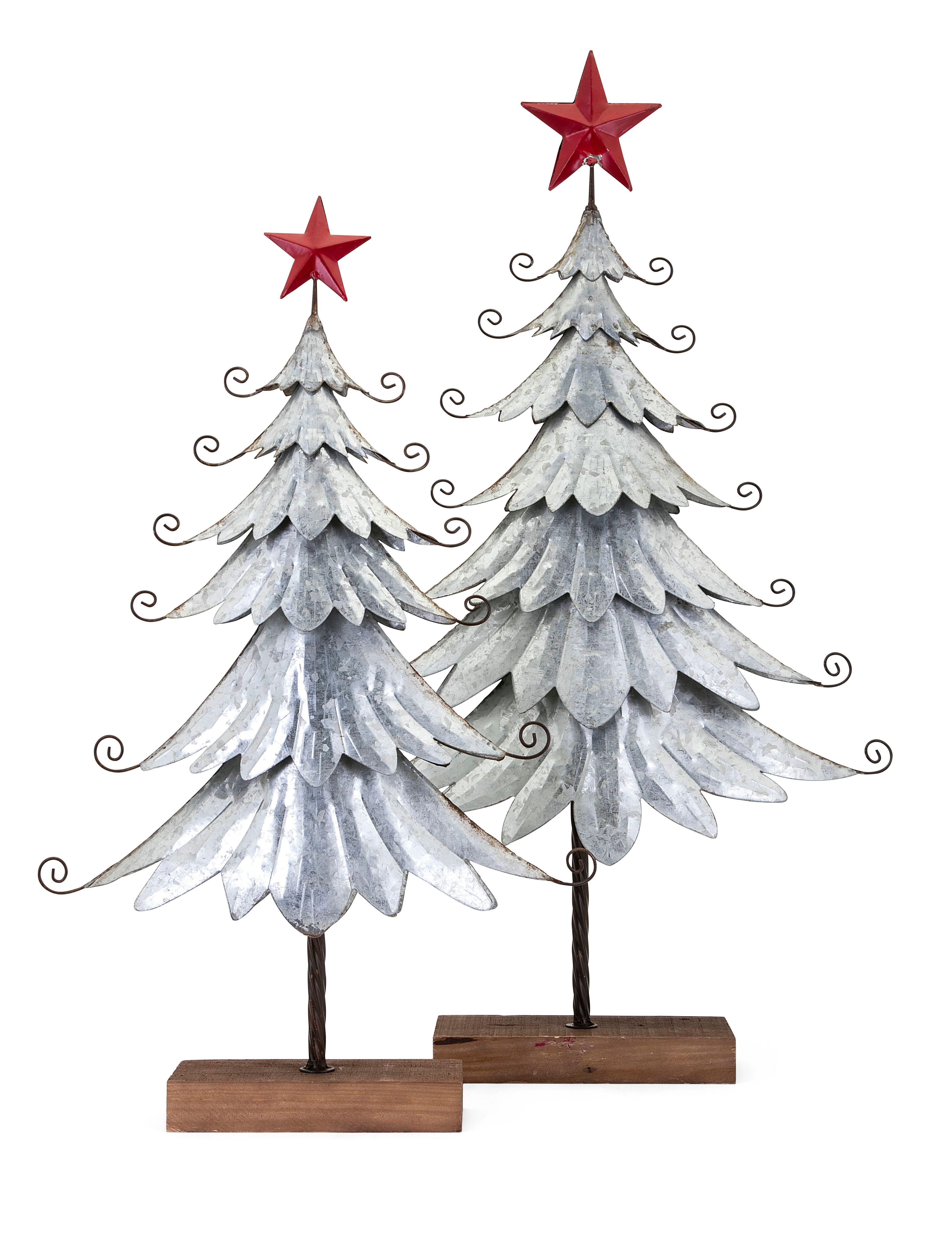 Holiday Homestead Christmas Galvanized Trees, Gray Metal