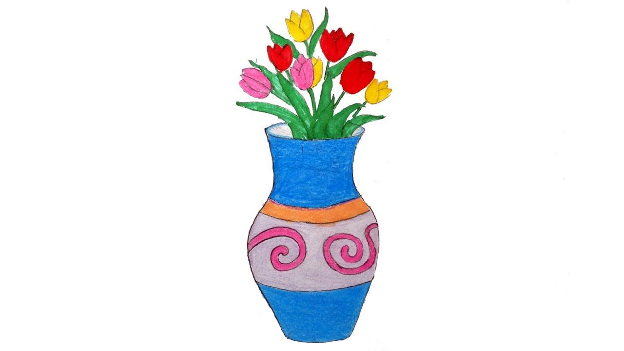 How To Draw Flower Vase Step By Step Easily Simple With Colour Flower Drawing Flower Vase Drawing Drawings