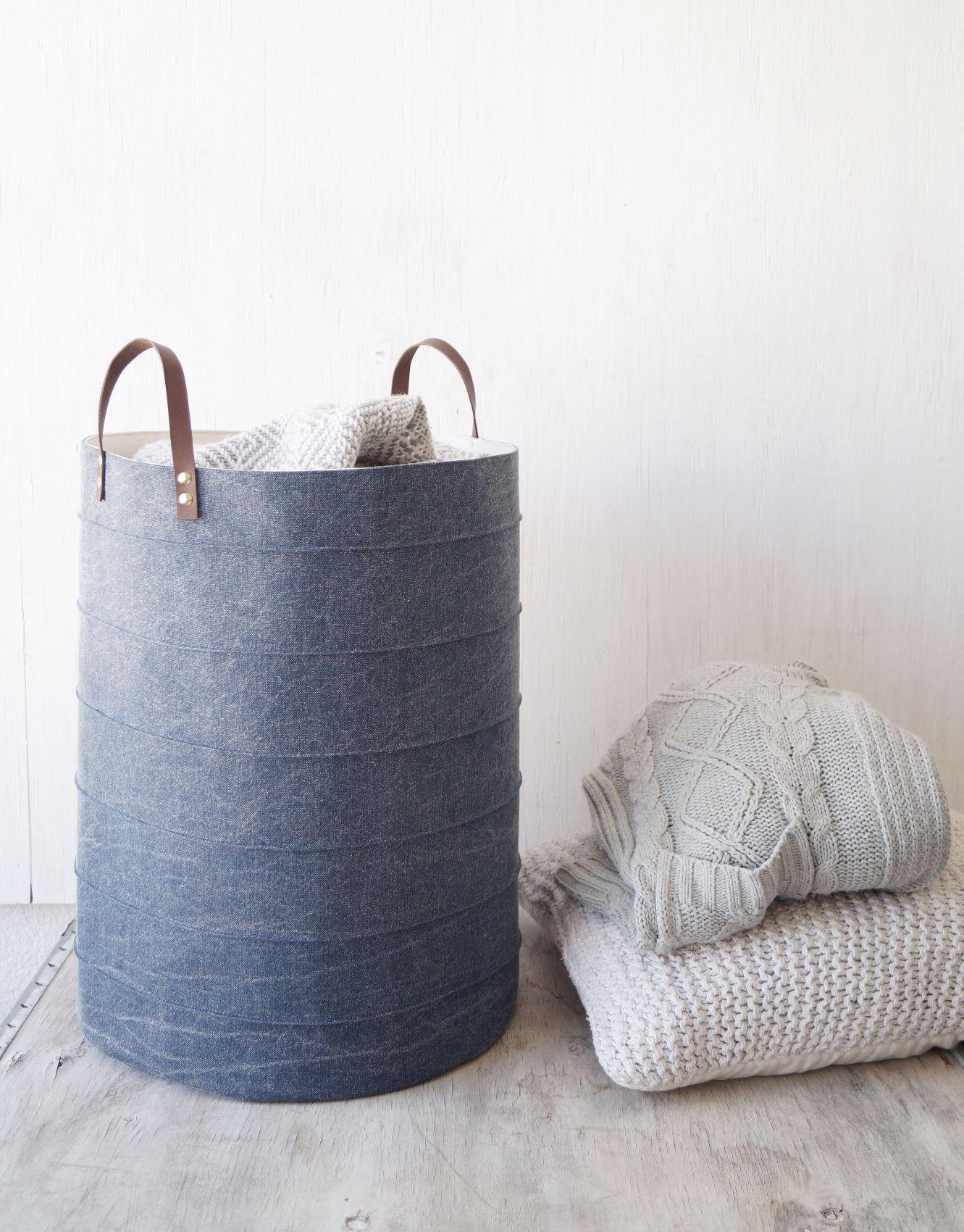 Blue Denim Laundry Hamper. Minimalism Home Decor. Laundry Room Storage  Basket. Kids Room