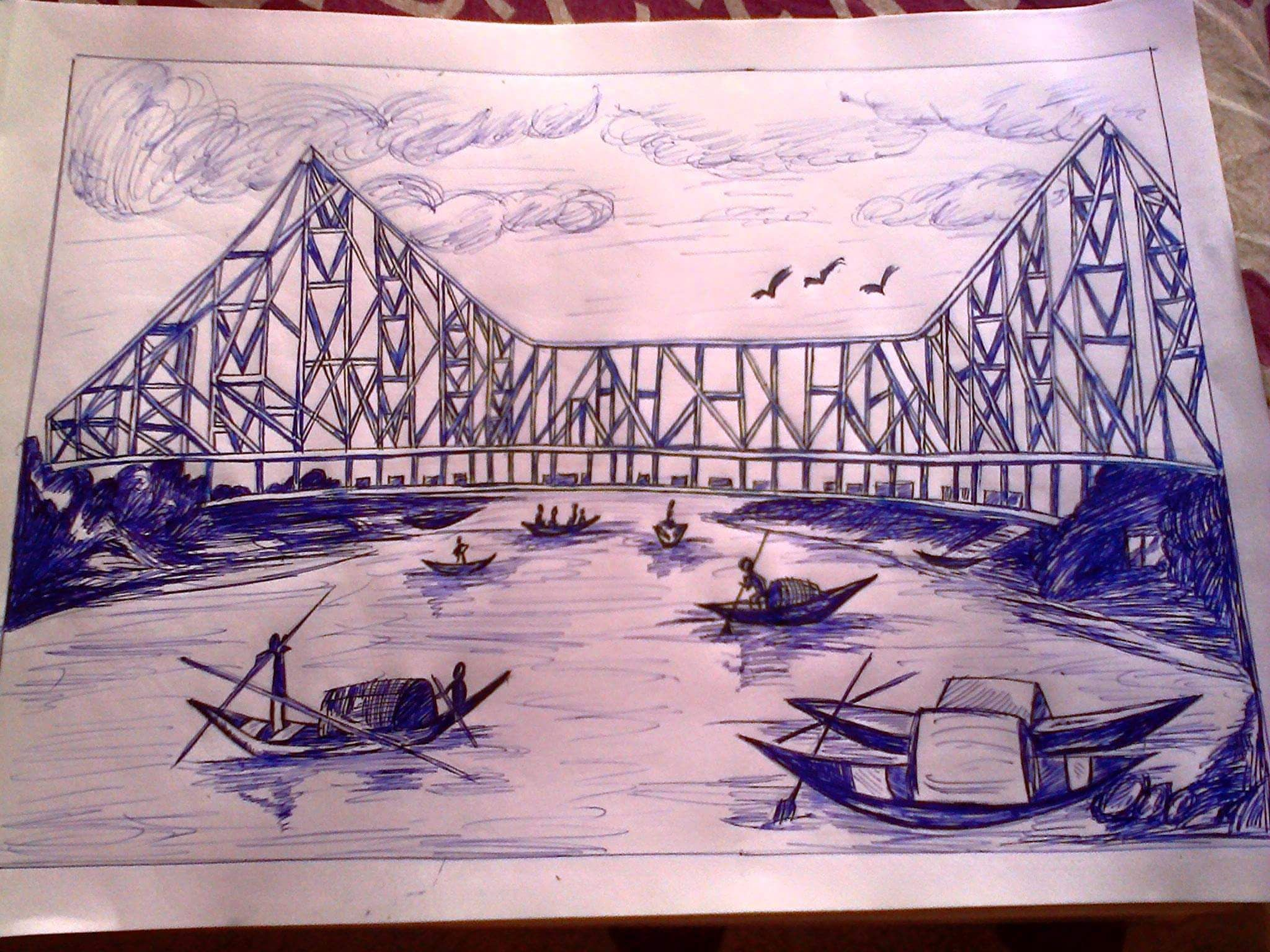 Pen sketching of howrah bridge inspired from another pencil sketching
