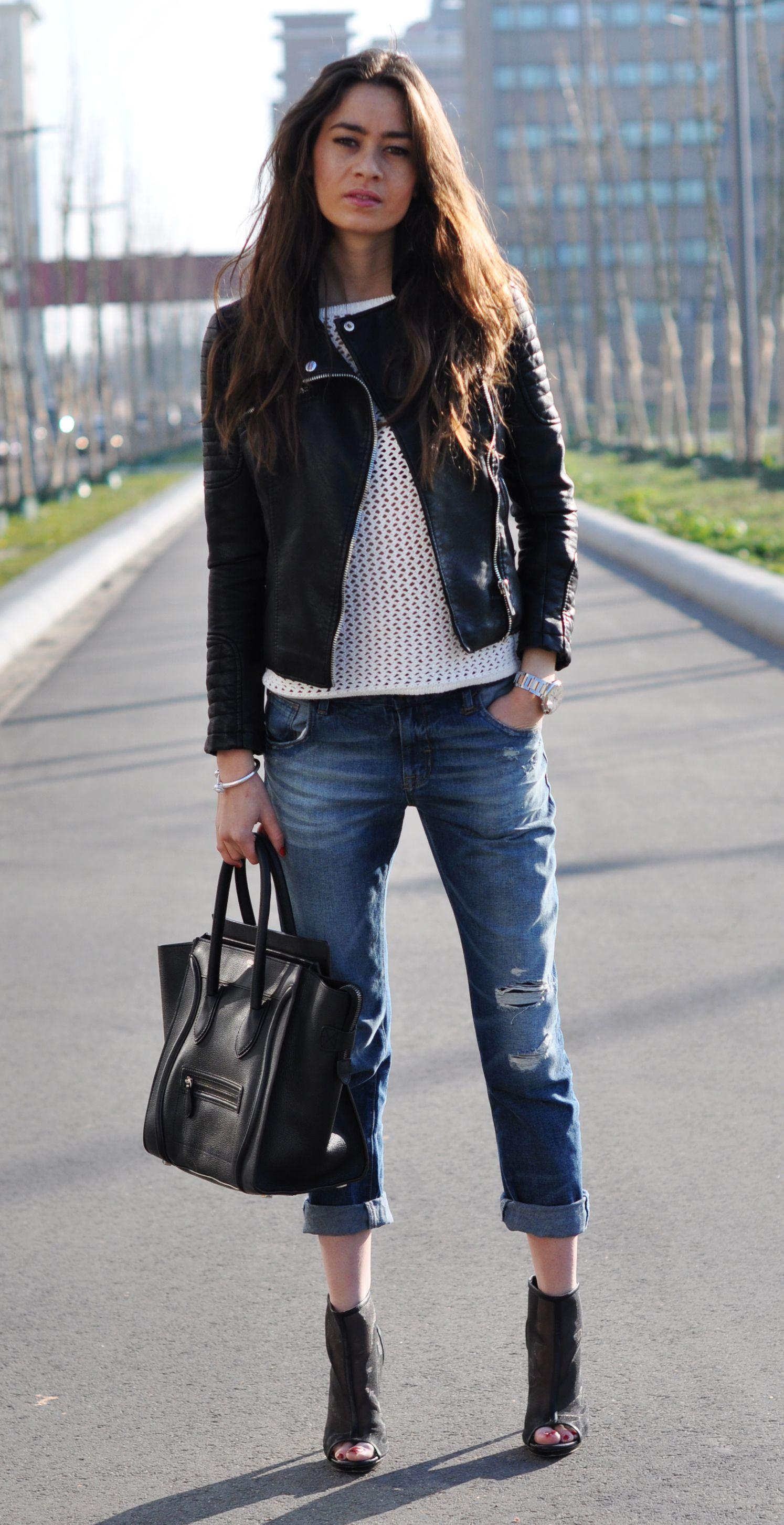 BF jeans, Leather Jacket,Celine bag