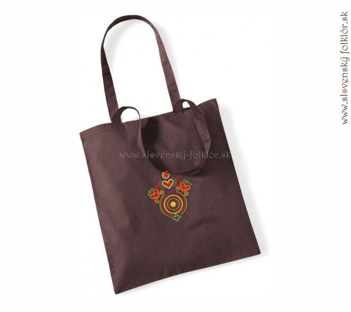 slovenský folklór s.r.o - PRE ŽENY - Ruksaky, tašky a iné - Westford Mill, Kvalitná nákupná taška, hnedá + výšivka Moravské Lieskové