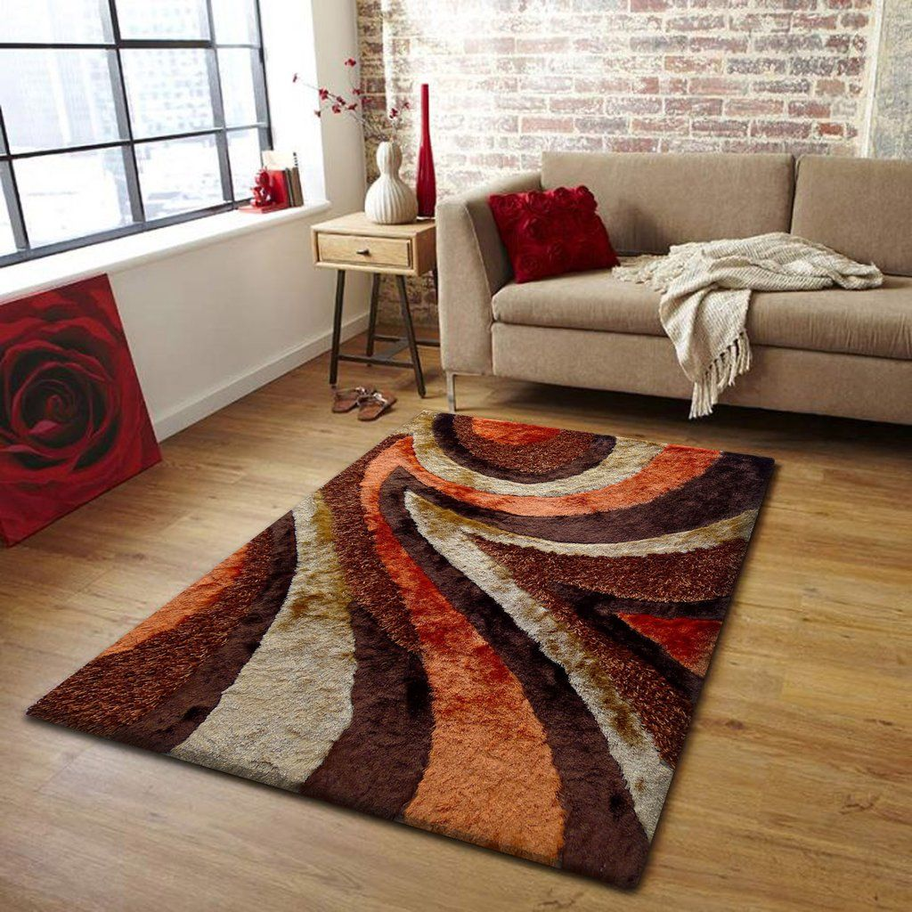 Orange 4x6 Brown Area Rugs Rugs In Living Room Living Room Decor Themes Shag Rug Living Room