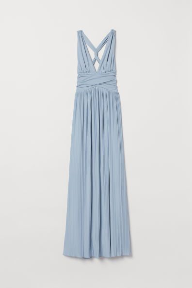 a90dfd4ee48 H M Pleated Maxi Dress - Blue in 2019