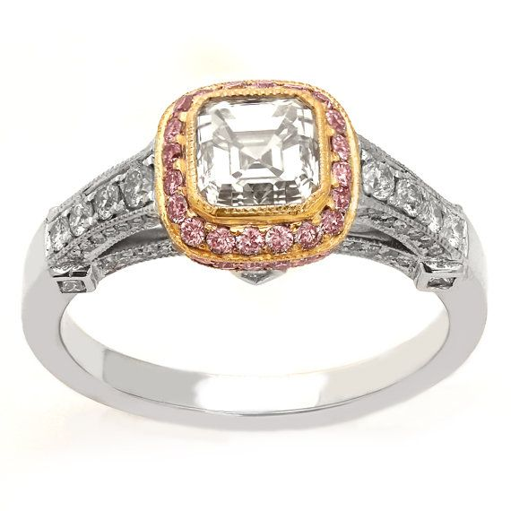 Asscher cut legacy ornate antique style diamond engagement ring with pink pave diamonds two tone A39