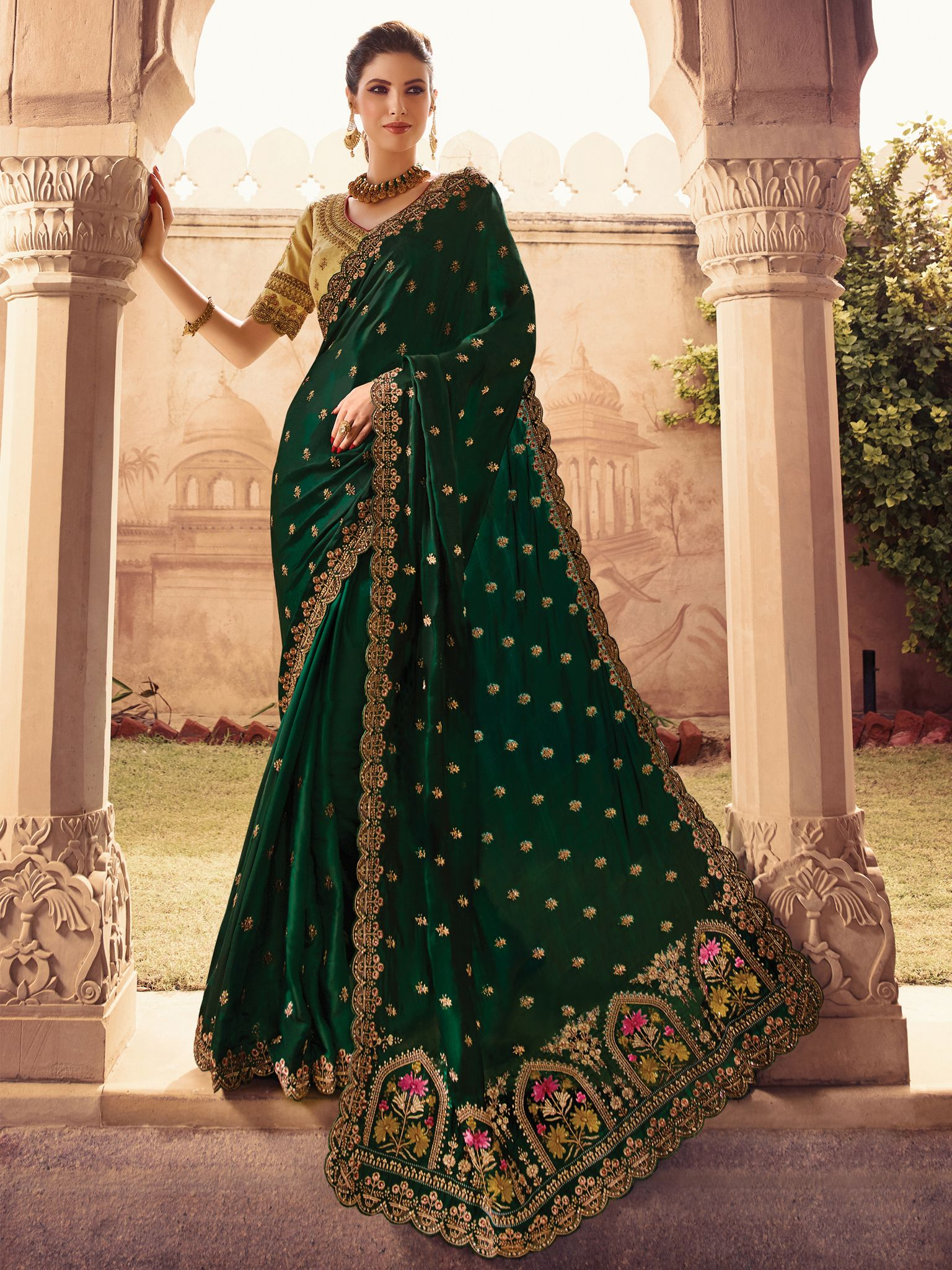 3f22be356e4a6c Dark Green Color Barfi Silk Fabric Heavy Saree