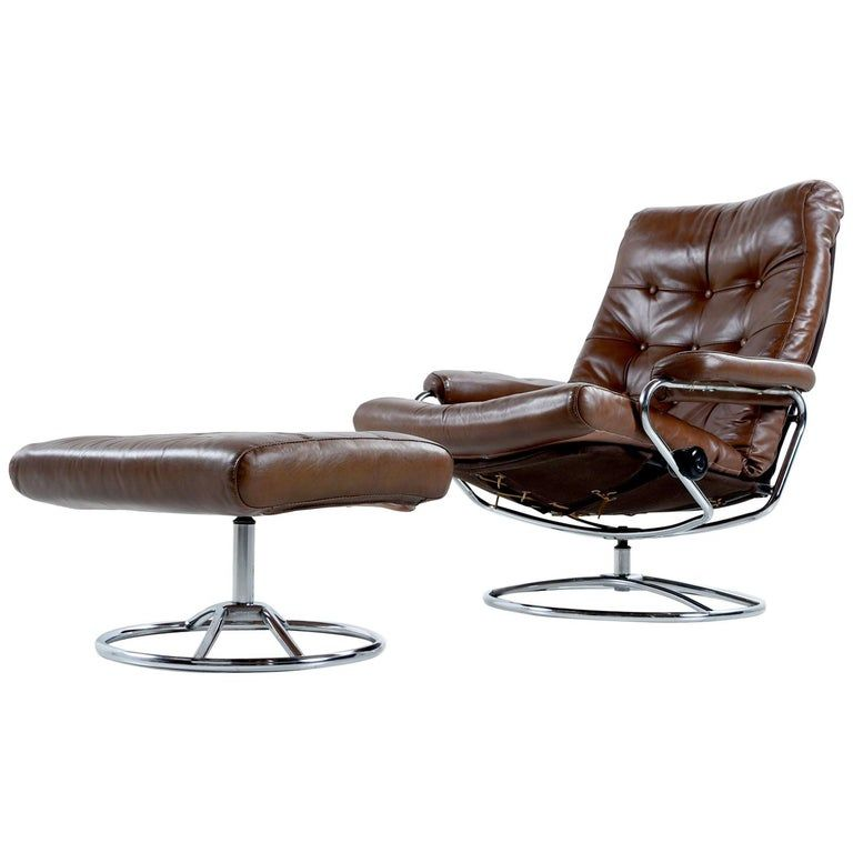 Vintage Ekornes Style Chrome and Leather Recliner Lounge