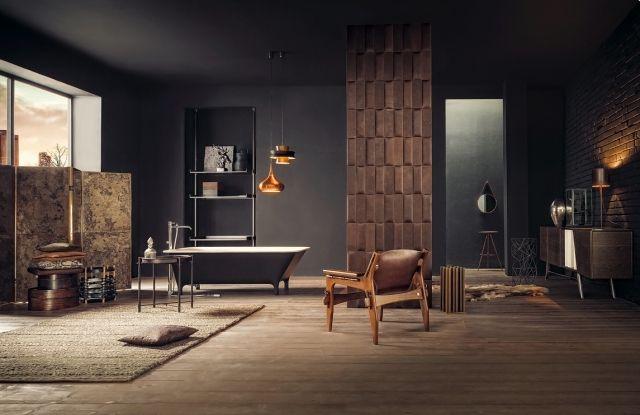 Wohnzimmer Offene Gestaltung Freistehende Badewanne Wanddesign Ideen