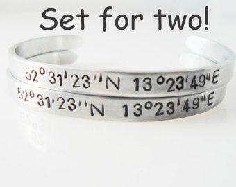 Sister Bracelet Coordinate Bracelets Set Of Two Hand Stamped Longitude Laude