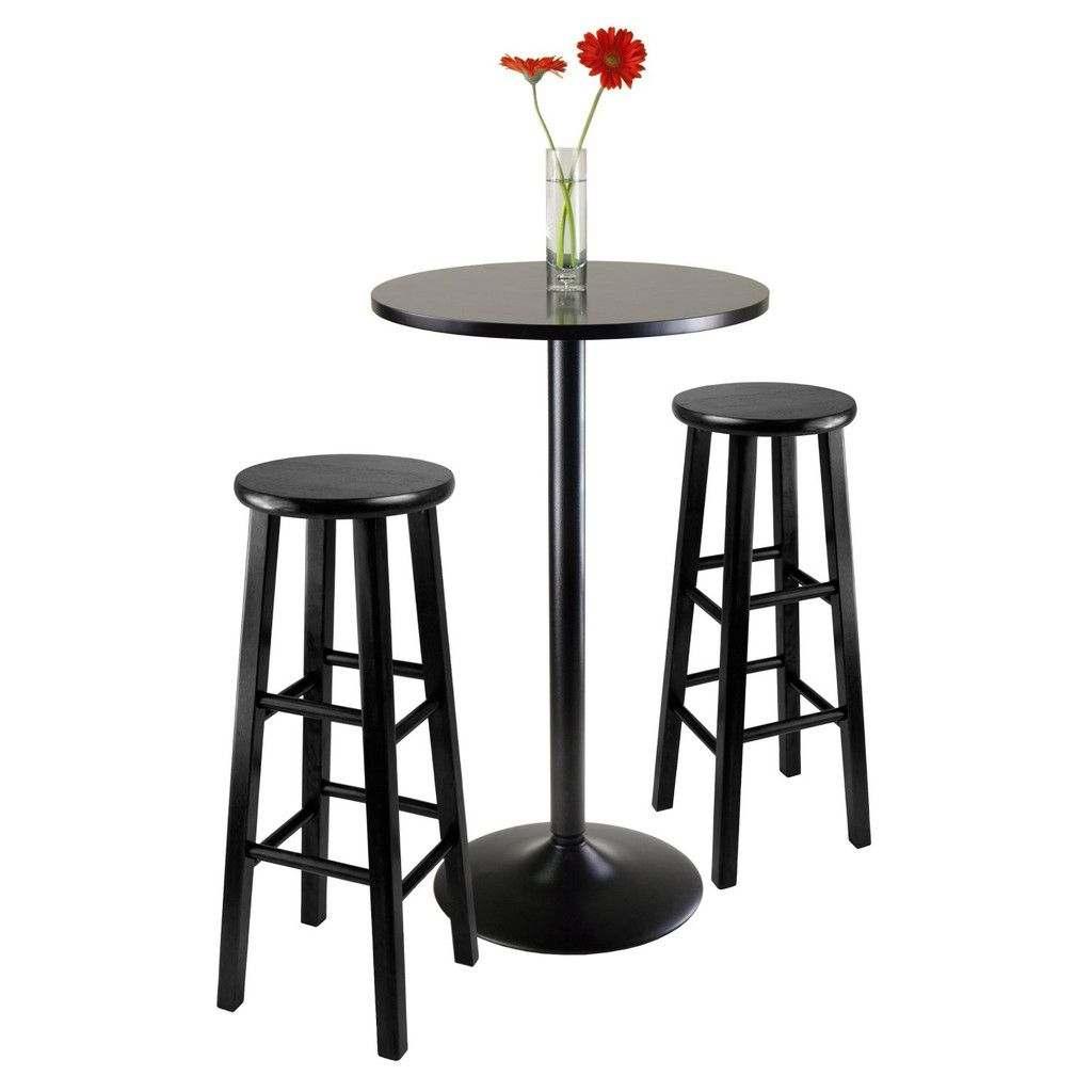 Furniture   Obsidian 3 Piece Round Black Pub Table With Two 29u0027 Wood Stool